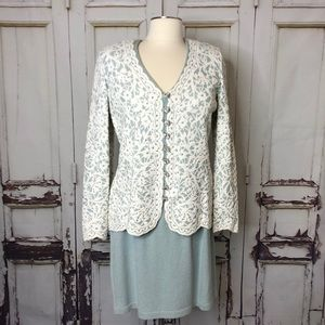 Vintage ST. JOHN skirt suit set blue white gems 8